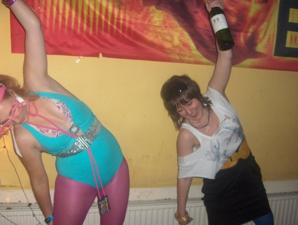 Me and recently engaged Elly at an 80s CS party!
