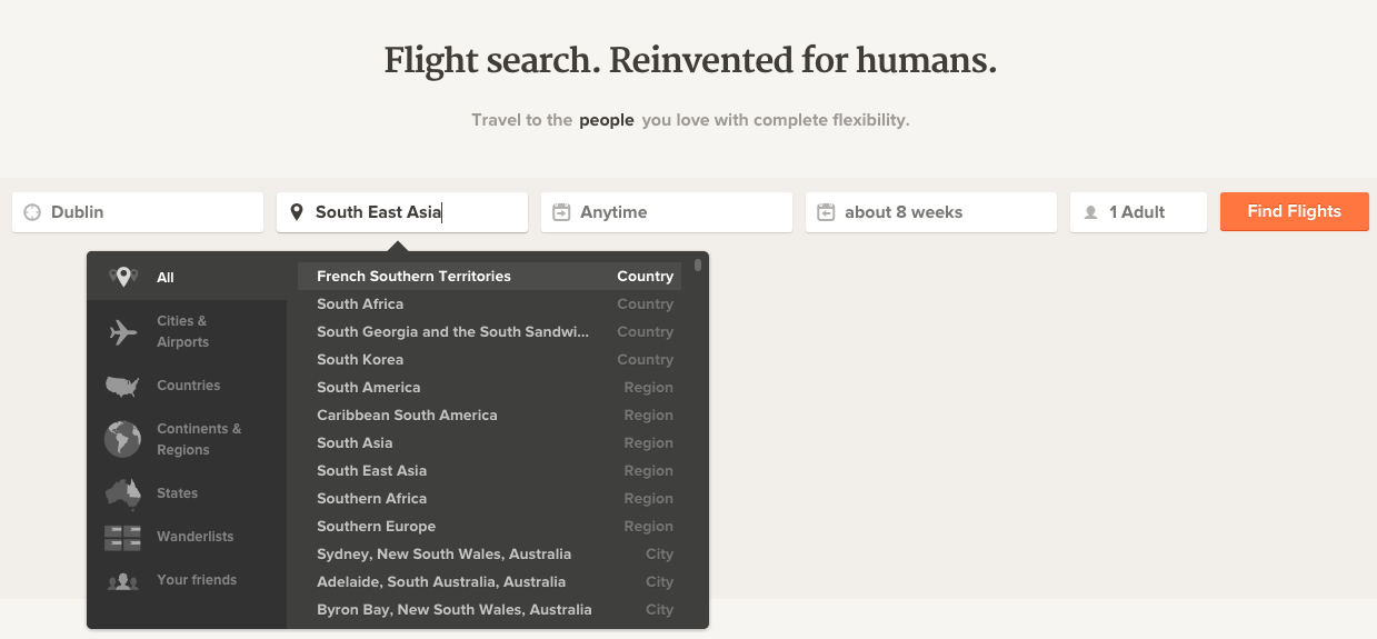 You can search adioso by keyword, city or region.