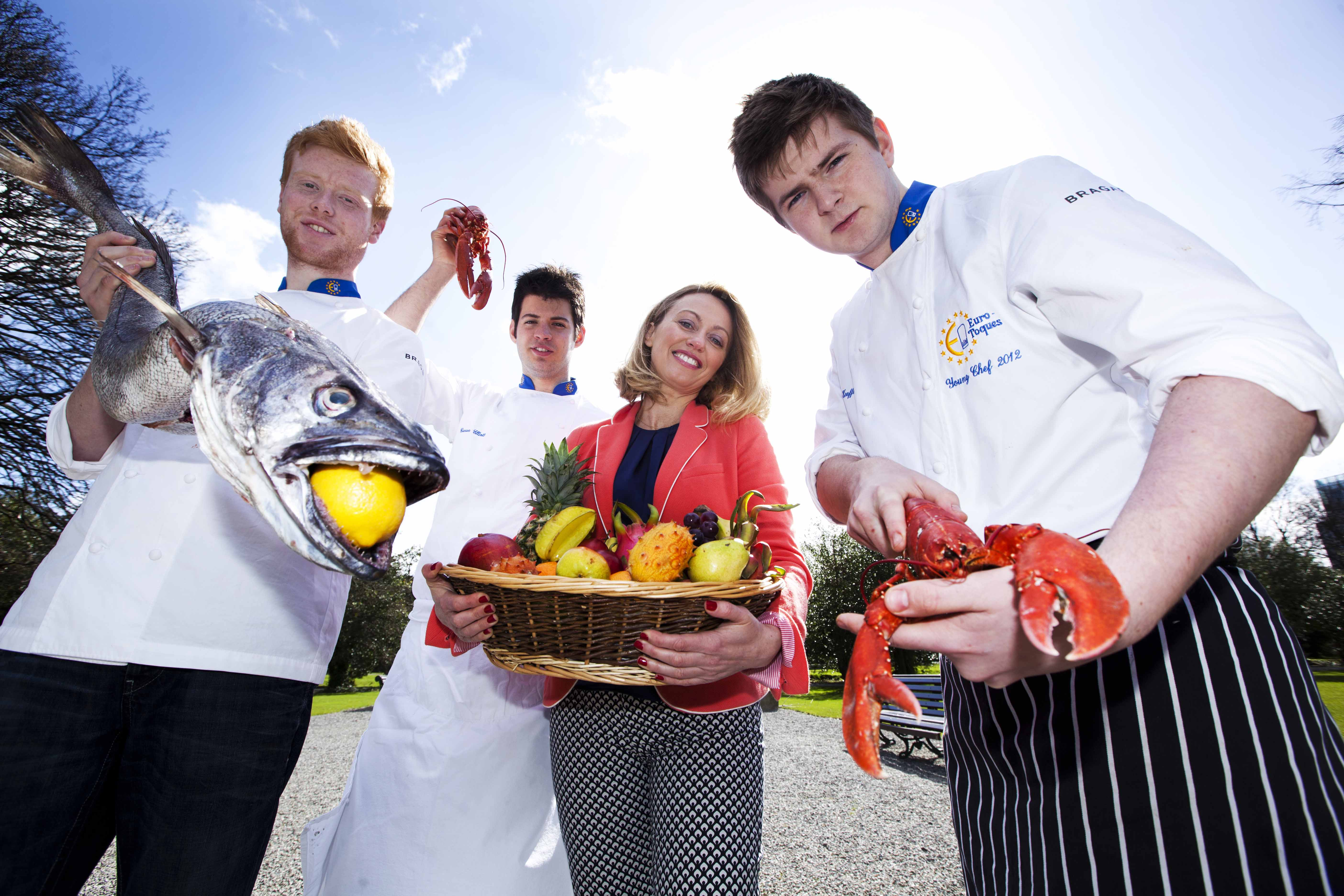 NO REPRO FEE. 16/4/2013. Clodagh McKenna with three of Irelands brightest culinary stars Ciaran Elliot, Mark Moriarty and Jack O Keeffe at the launch of this years Taste of Dublin in the Iveagh Gardens. The food and wine festival ,Taste of Dublin which is sponsored by Electrolux takes place  from Thursday 13th until 16th June in the beautiful Iveagh Gardens. For more information on this event you can go to www.tasteofdublin.ie.Photo Leon Farrell/Photocall Ireland.