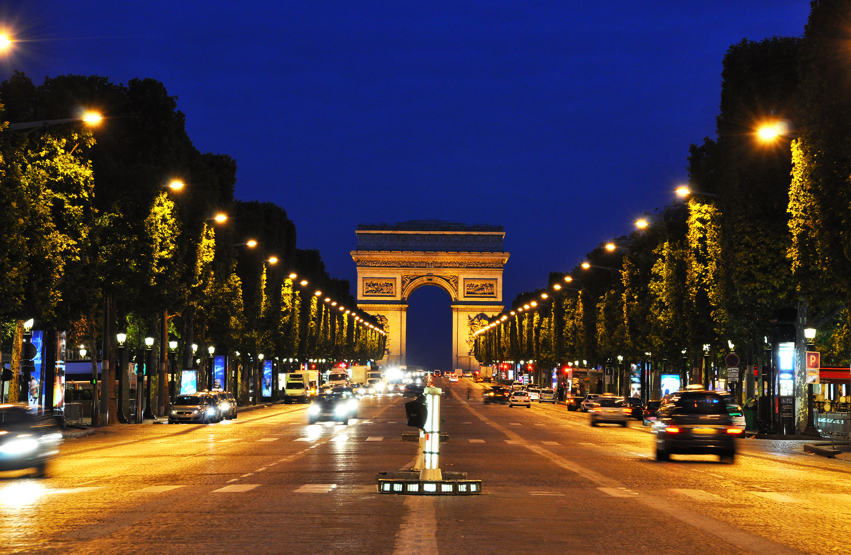 The Champs-Elysées at night, Paris, France