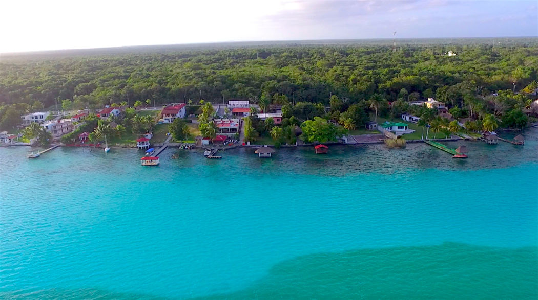 Aerial view of Bacalar Lagoon