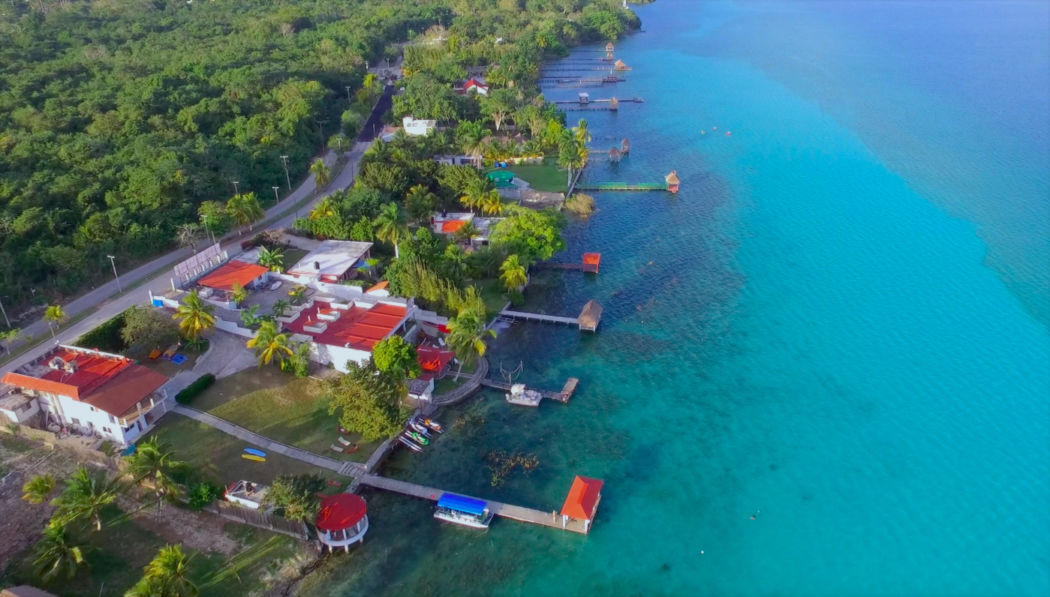 bacalar lagoon drone shot