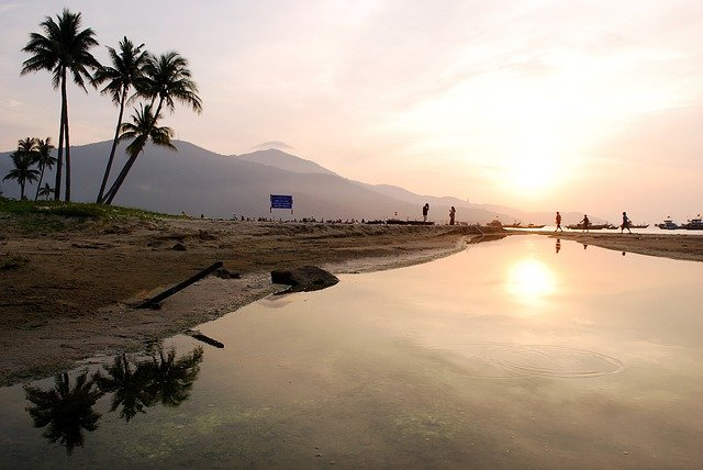 beach at dawn in danang vietnam