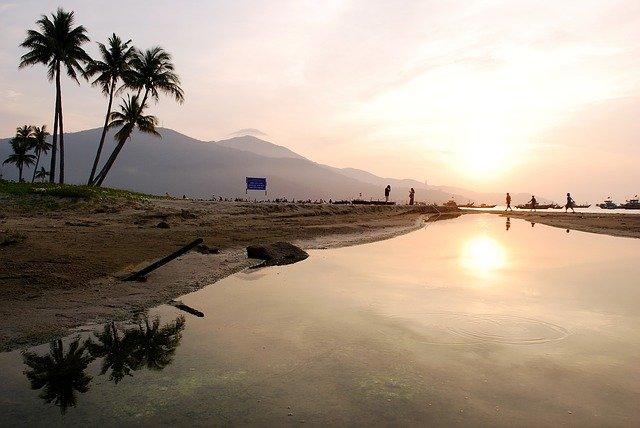 beach at dawn in danang vietnam