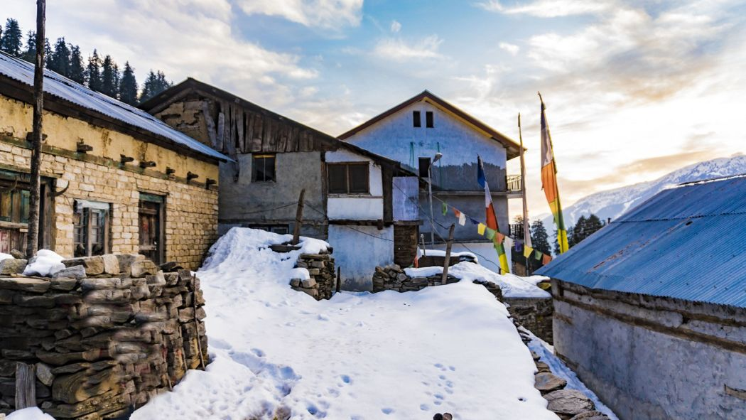 sethan village in the snow