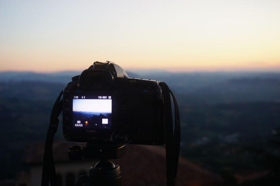 camera looking at sunset