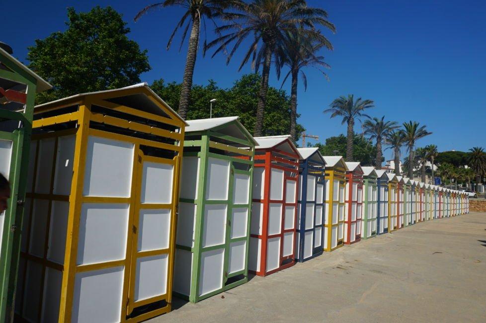 costa brava colourful beach huts