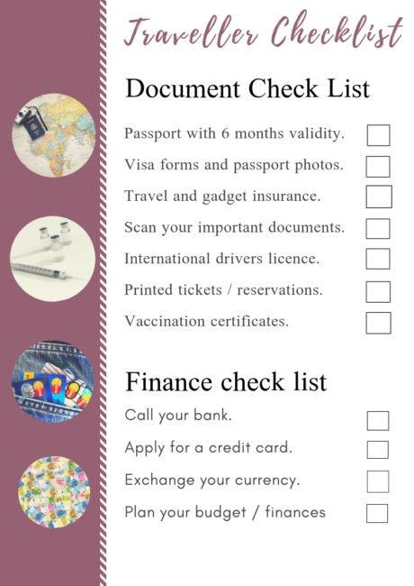 traveller checklist printable download