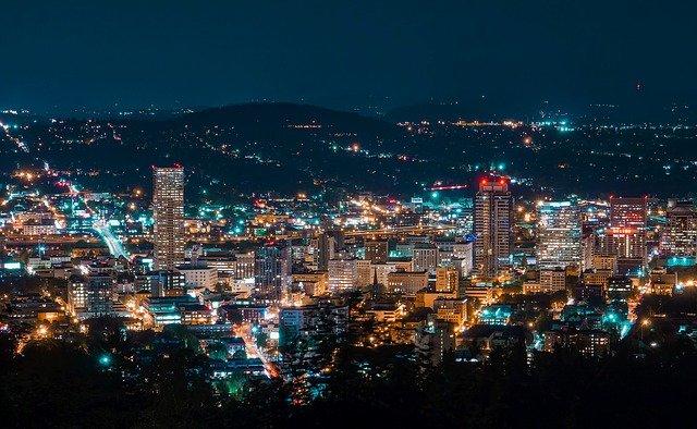 night in Portland Oregon