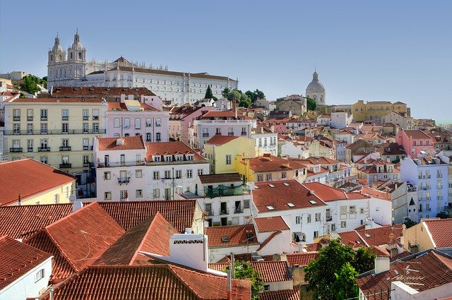 view of Lisbon from elevator