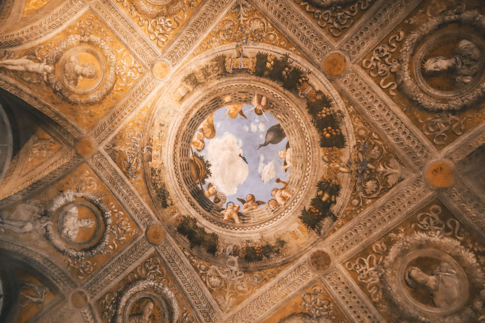 beautiful palace roof in Mantua italy