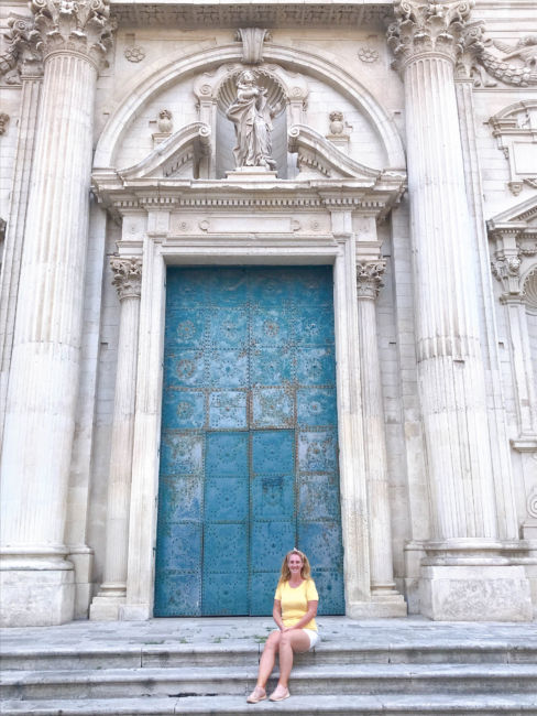 Lecce cathedral blue door