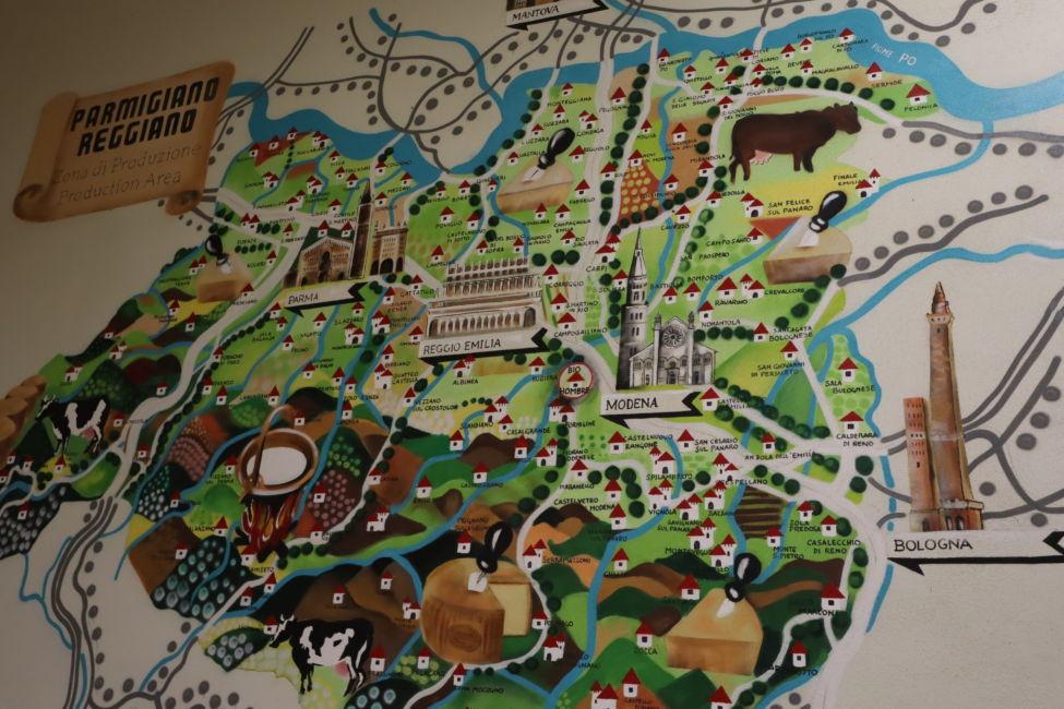 map of Emilia romagna cheese
