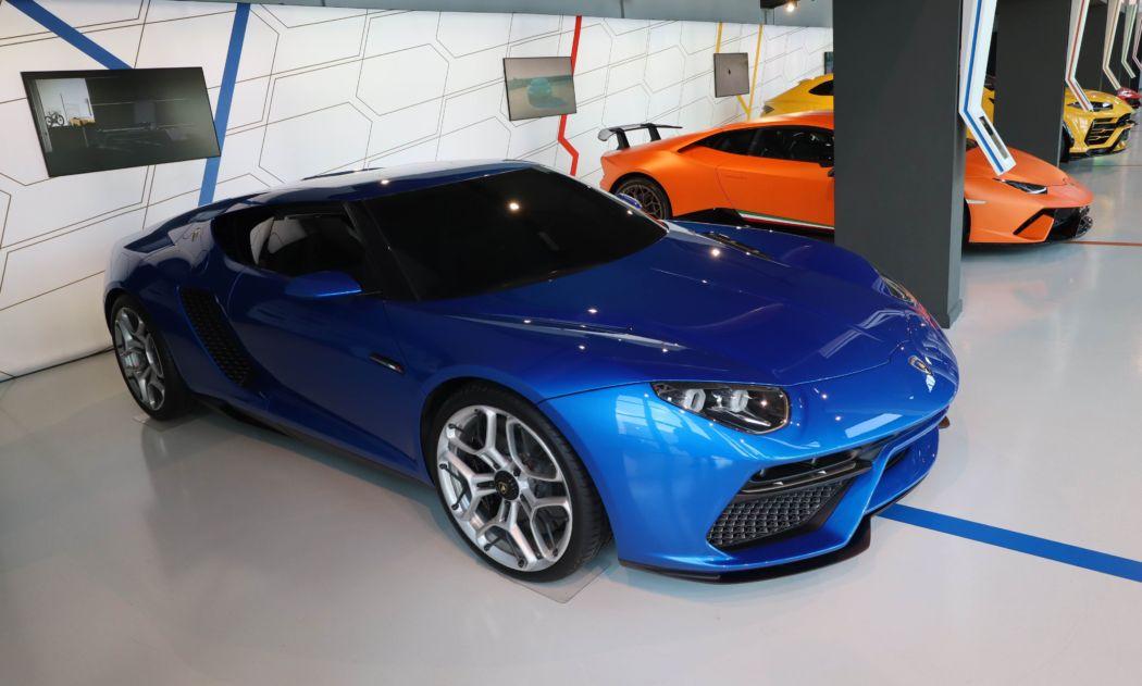 cars inside the Lamborghini museum