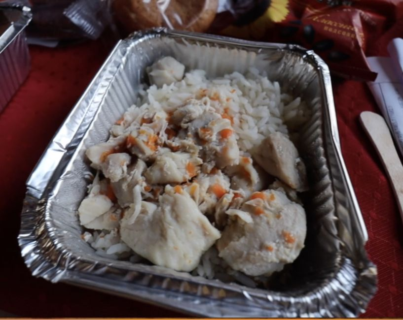 hot meal on Russian train
