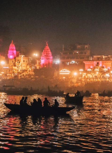 Aarti ceremony at night in varanasi